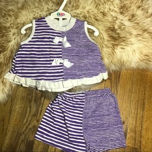 Other - Vintage Toddler 2pc Striped set Outfit Bow 4T
